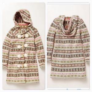 Anthropologie Sparrow Fair Isle Sweater Coat M